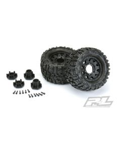 PROLINE 1170-10 TRENCHER 2.8 TIRES MOUNTED ON RAID BLACK REMOVABLE HEX WHEELS 2pcs  1/10