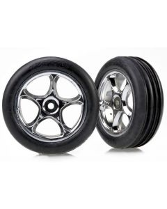"""Traxxas 2471R Tires & wheels, assembled (Tracer 2.2"""" chrome wheels, Alias ribbed 2.2"""" tires) (2)  1/10 Front"""