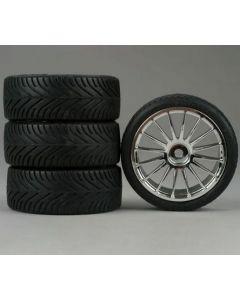 Duratrax DTXC2808 16-Spoke Chrome Wheel Pregluded Radial Tires, 4pcs 1/10