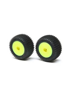 Losi LOS41009 Step Pin Tyres, Rear, Mounted, Yellow, Mini-T 2.0 1/8 (8mm Hex)