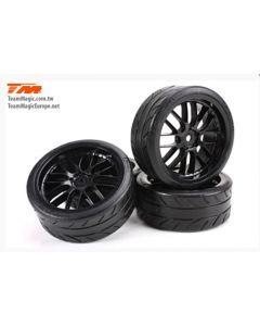 "Team Magic 503330BK 8-Spoke Mounted Radial  Drift 2.2""  Tyre black E4D 4pcs 12mm Hex 1/10"