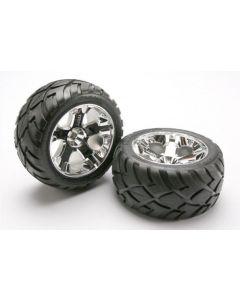Traxxas 5576R Tires & wheels, assembled, glued (All-Star chrome wheels, Anaconda® tires, foam inserts) (nitro rear/ electric front) 2pcs 1/10
