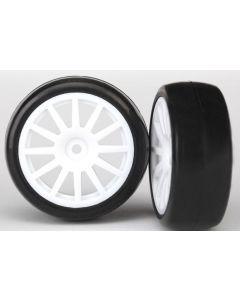 Traxxas 7572 Tires & wheels, assembled, glued (12-spoke white wheels, slick tires) (2) 1/18 Latrax