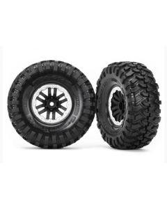 "Traxxas 8272X Tires and wheels, assembled, glued (TRX-4® 1.9"" satin beadlock wheels, Canyon Trail 1.9x4.6 tires) (2) 1/10"