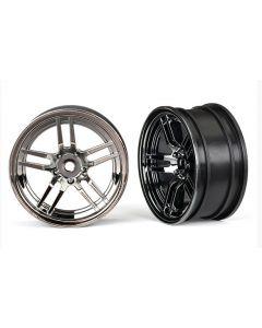 "Traxxas 8371 Wheels, 1.9"" split-spoke (black chrome) (front) (2) 1/10"