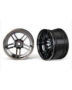 """Traxxas 8372 Wheels, 1.9"""" split-spoke (black chrome) (30mm wide, rear) (2) 1/10"""