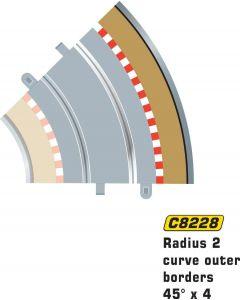 Scalextric C8228 Radius 2 Curve Outer Borders 45° x 4