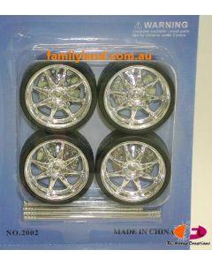 Ddaus 2002-1 8-Spoke Wheel Set (Rim & Tyre) (4pcs) 1/24
