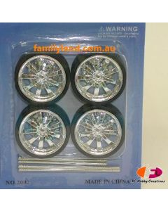 Ddaus 2002-3 9-Spoke Wheel Set (Rim & Tyre) (4pcs) 1/24