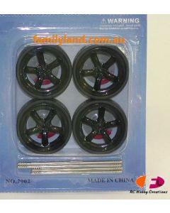 Ddaus 2002-5 5-Spoke Black Wheel Set (Rim & Tyre) (4pcs) 1/24