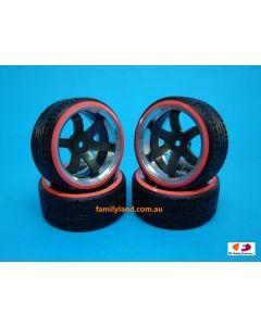 Integy Alloy 6-Spoke Wheel Drift Tire 0 Offset (4) O.D.=64mm1/10