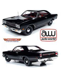 Auto World AMM1204 X9 Black Velvet 1969 Plymouth Duster GTX Hardtop (MCACN) 1/18
