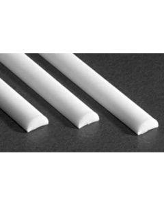 "Evergreen 243 White Polystyrene Half Round 0.100 x 14"" / 2.5mm x 36cm (3)"