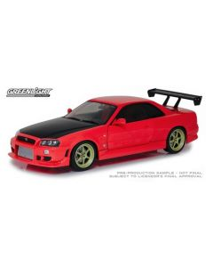 Greenlight 19052 Red 1999 Nissan Skyline GT-R (R-34) w/ Neon LED Light Underglow Artisan Collection 1/18