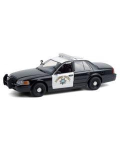 Greenlight 85523 2008 Ford Crown Victoria Police Interceptor California Highway Patrol Hot Pursuit 1/24