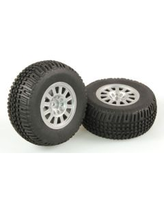 Helion HLNA0077 Tires, Mounted, Silver Wheel (2pcs/ Dominus SC) 1/10