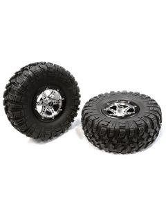 Integy C25336BLACK Billet Machined X6 Spoke 2.2 Wheel&Tire Set (2) for Rock Crawler (O.D.=132mm)