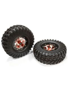 Integy C25409RED V2 Alloy 6-Spoke Type S3 1.9 Size Wheel&Tire (2) for Scale Crawler (OD=106mm)