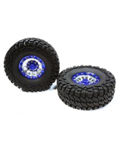 Integy C26179BLUE High Mass Billet 12H Spoke OZ 1.9 Wheel&Tire (2) for Scale Crawler (O.D.=113mm)