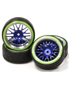 Integy C24791BLUEGREEN Billet Machined Alloy 10Y Spoke Wheel 0 Offset + Drift Tire (4) Set (O.D.=64mm) 1/10