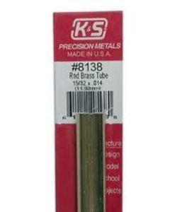 "K&S 8138 ROUND BRASS TUBE 15/32 x 12"" (.014 Wall) (11.92mm /1pc)"