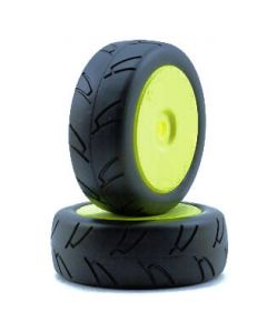 Losi LOSA17759 8ightH Street On-Road Tire Mounted, Yellow Wheel (2pcs)  1/8