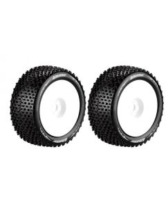 """Louise LT3135W T-Pirate 1/8 Competition Truggy Tyre - 0"""" Offset White Rim Hex 17mm (2pcs)"""
