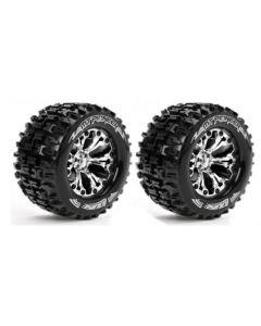 Louise LT3202C MT-Pioneer Tyre On Chrome Rim 0 Offset Hex 12mm (2pcs) 1/10