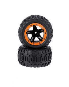 HBX M16038 Tire and Wheel Glued 12mm Hex Ravage 1/16 2pcs