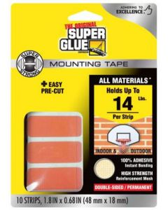 "Super Glue 11710507 Super Strong Mounting Tape Pre-Cut Strips 48x18mm (1.8x0.68"") 10pcs"