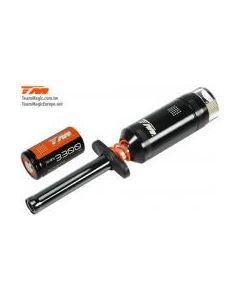 Team Magic 114203-33 Black Magic Metered Glow Starter with 1.2V, 3300mAh Sub C NiMh Battery
