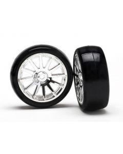 Latrax 7573 Tires & wheels, assembled, glued (12-spoke chrome wheels, slick tires) (2) 1/18