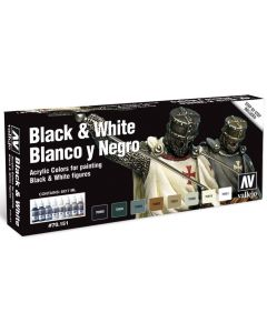 Vallejo 70151  Acrylic Model Color Black and White (8 bottles of 17 ml.)