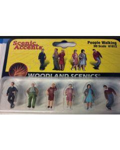Woodland Scenics A1913 People Walking HO Scale (6pcs)